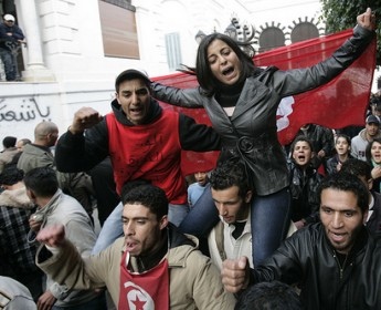 Demonstranten in Tunis am 20. Januar 2011 by Nassir Nouri/flickr