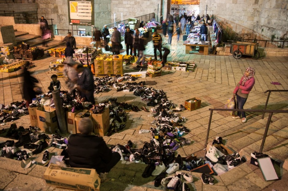 Shoe merchants at Damascus Gate Jerusalem at Dusk