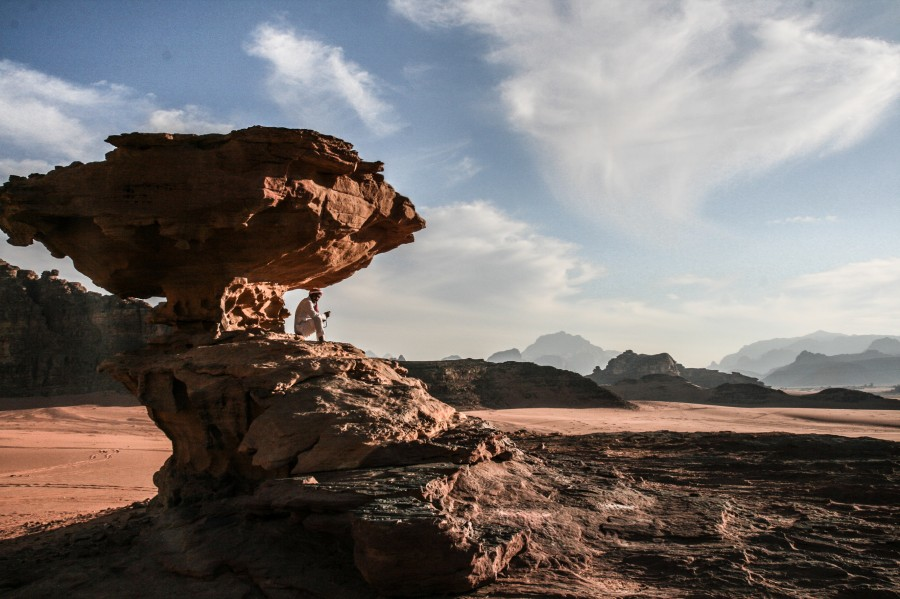 Wadi Rum in Jordan Scenery at the famous Stone formation from Lawrence of Arabia