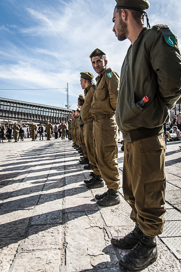 Israeli Soldier looks into camera at oath ceremony at Western Wall Jerusalem, February 2013