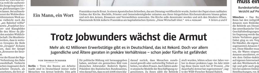 sz schlagzeile Jobwunder süddeutsche zeitung neusprech Medien krise jobwunder hartz IV deutschland armut