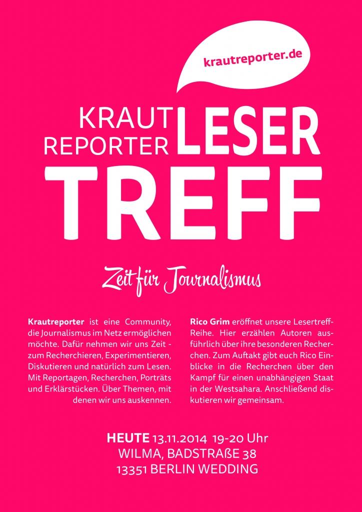 Lesertreff Grimm Plakat (Deutsch) Ich bin Journalist. Und seit heute auch noch ein bisschen mehr. lesertreff krautreporter eindrücke